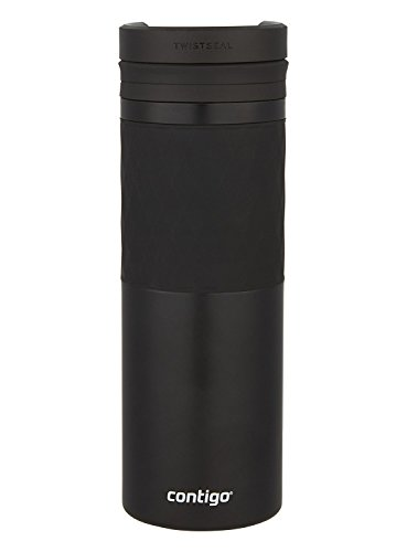 (Contigo Vaccum-Insulated Stainless Steel TwistSeal Glaze Travel Mug, 16 oz, Matte Black)
