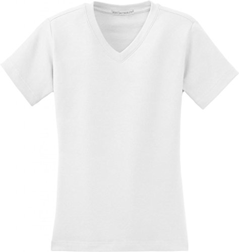 Port Authority - Ladies Modern Stretch Cotton V-Neck Shirt. L516V - White_M (Port Authority Tee Ladies V-neck)