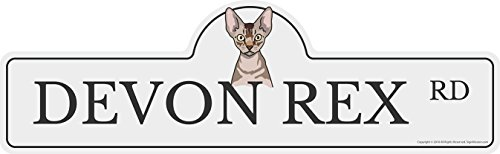 Devon Rex Street Sign | Indoor/Outdoor | Dog Lover Funny Home Décor for Garages, Living Rooms, Bedroom, Offices | SignMission personalized gift | 18