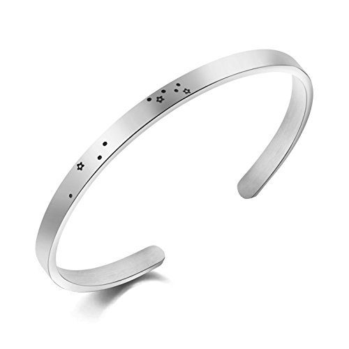 (MEMGIFT Leo Constellation Bracelet Zodiac Sign Stainless Steel Cuff Jewelry Gifts for Women)