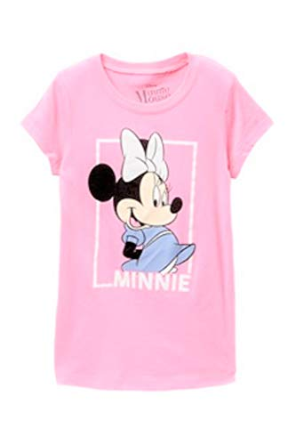 Disney Girls T-Shirt Minnie Mouse Glitter Graphic Print (Medium, Light Pink) ()