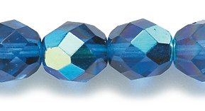 Preciosa Czech Fire 8mm Polished Glass Bead, Faceted Round, Capri Blue Aurora Borealis, 75-Pack