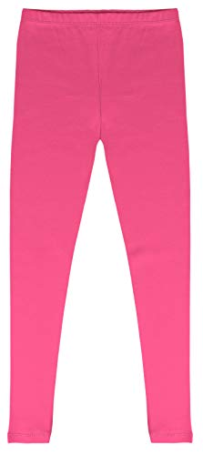 CAOMP Girls'%100 Organic Cotton Leggings for School Play (5-6, Hot Pink) -