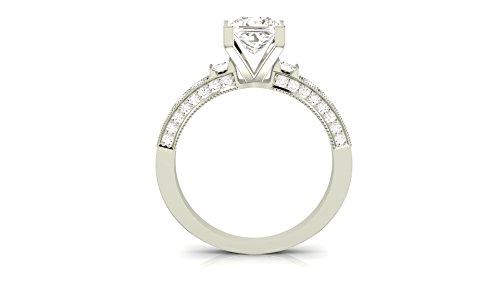 14K White Gold 1.58 CTW Princess Cut Gorgeous Prong Set Round And Half Bezel Baguette Diamond Engagement Ring, J Color VS1-VS2 Clarity, 1 Ct Center