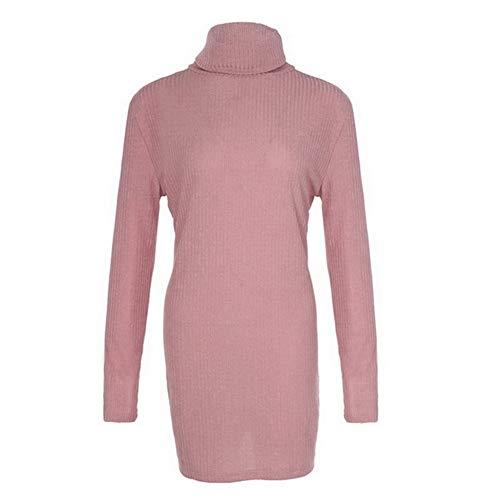 A Pink Plus Size Abito Fcahnrtc Dolcevita Maglia Lunga L Invernale S Lavorato Pullover Lungo Manica Da Slim Streetwear Donna qfpXpwa