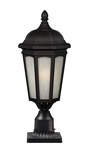 Z-Lite 508PHB-533PM-BK Newport One Light Outdoor Post Mount Light, Metal Frame, Black Finish and White Seedy Shade of Glass (Newport Post Mount)