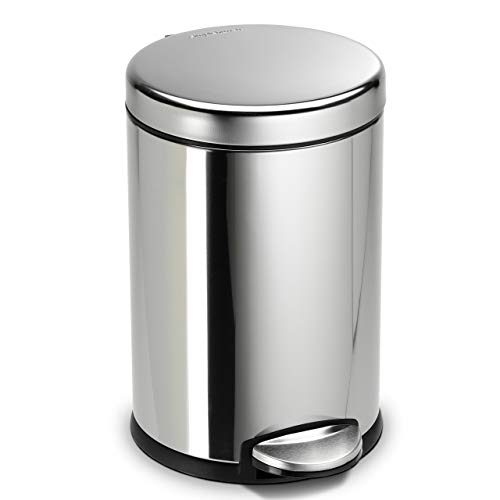simplehuman 4.5 Liter / 1.2 Gallon Compact Stainless Steel Round Bathroom Step Trash Can, Polished Stainless Steel ()