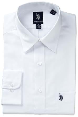 US Polo Association Men's Herringbone Dress Shirt, White, 16-16.5 32/33 Large