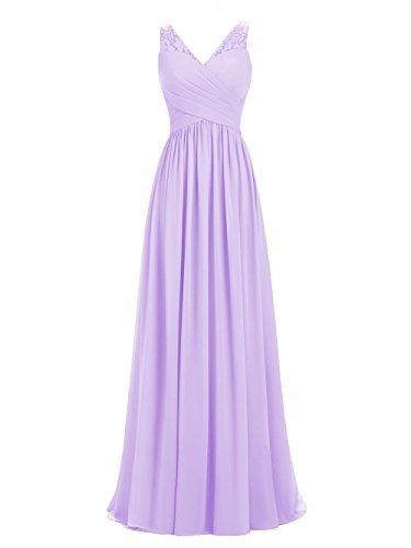 A-line V-Neck Chiffon Long Empire Bridesmaid Dresses Simple Prom Dresses (Lilac, 2)
