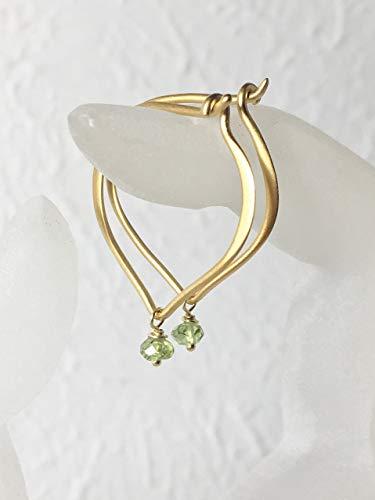 Date Peridot Ring - Peridot Hoop Ear Wires, August Birthstone, Gold Vermeil Gemstone Earrings