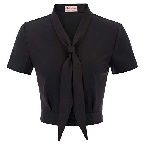 (Women's Vintage Plus Size Button Down Shirt Short Sleeve Tie Neck Cropped Top Black, XX-Large)