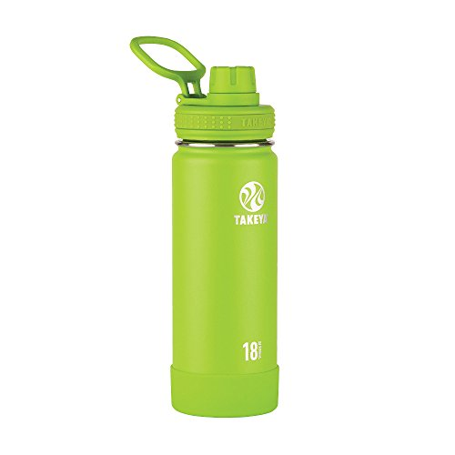 Takeya Actives Insulated Stainless Water Bottle with Insulated Spout Lid, 18oz, Lime