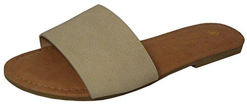 Cambridge Select Women's Slip-On Open Toe Single Band Flat Slipper Slide Sandal (7 B(M) US, Beige PU)