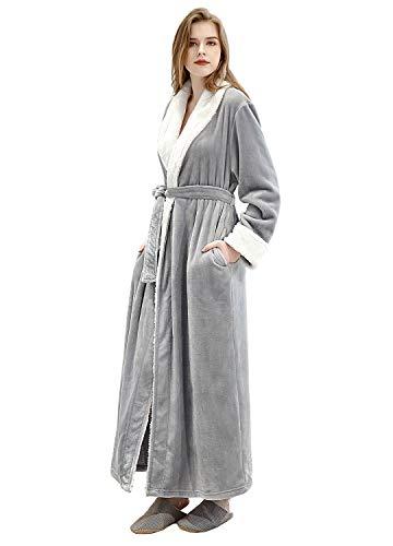 (Women's Luxurious Fleece Bath Robe Plush Soft Warm Long Terry Bathrobe Full Length Sleepwear,Gray,Large )