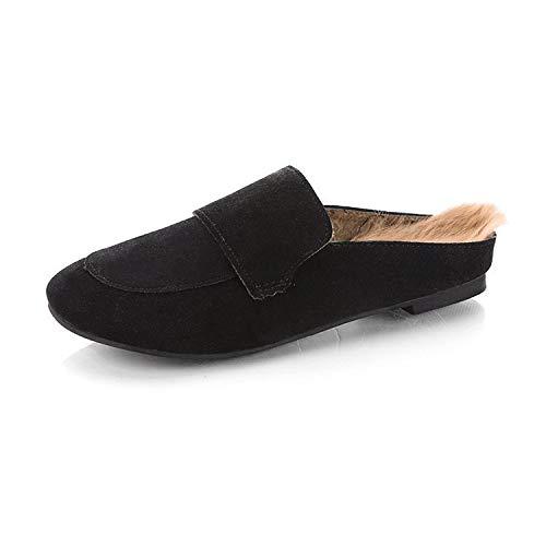 Uso Zapatillas Antideslizantes Cómodas Mujer Ropa Hogar Black Doble Sólido De Para Cálidas Zapatos Color 7qwwaFUr