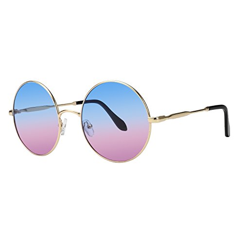 - ROYAL GIRL Round Sunglasses For Women Circle Metal Vintage Candy Color Glasses (BLUE purple, 2.36)