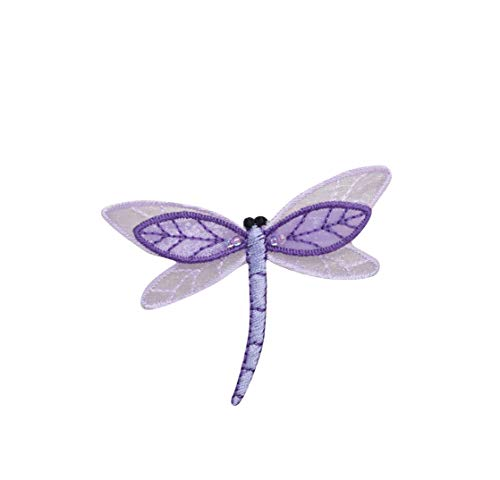 Small Sheered Layered Purple Dragonfly Iron on Embroidered Patch