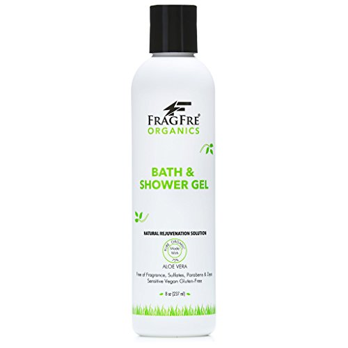 FRAGFRE Organic Shower Gel 8 oz - Fragrance Free Sulfate Free Parabens Free - for Normal and Dry Sensitive Skins - Gluten Free Vegan Cruelty Free - Organic Aloe Vera Bath Shower Gel - pure Natural