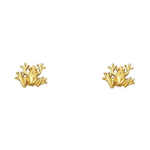 (14k Yellow Gold Frog Stud Earrings (8 x 9 mm))