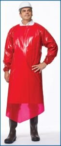 VR Protective Wear Vinyl Replacement Gown openback w/elastic-cuffs 4 mil red X-large X-long 45x55 inches , (Pack of 50) PolyConversions, Inc. 42688