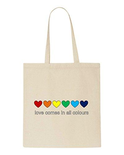 Love Tote Shopper All Colours Bag Rainbow Comes Hearts Beige In arYwaq8