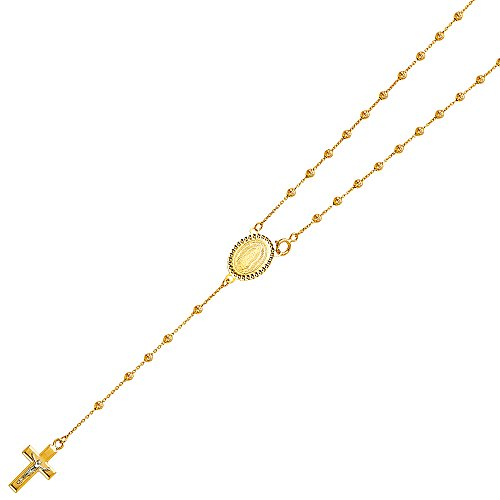 14k Yellow Gold 2.5mm Beads Rosario/Rosary Necklace - 20
