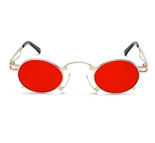 polarisés rétro vapeur punk Rouge ovale métal de cadre Or Lunettes hippie de Hellomiko verres non fqSwpa7A