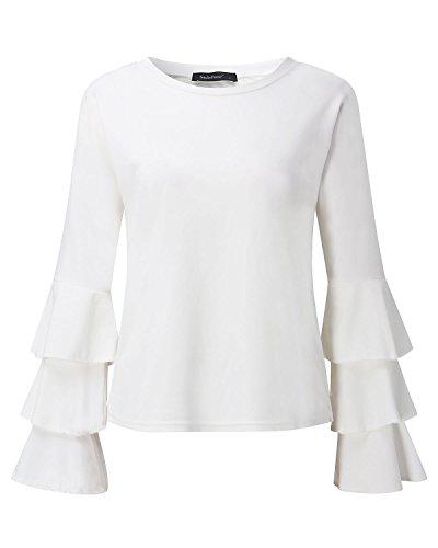 Autunno Blusa StyleDome Manica Maglia Top Nuovo Shirt Maglietta Casual T Elegante Donna Girocollo Bianco Lunga qTT7ZU