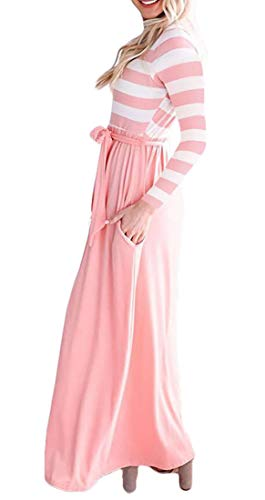 XiaoTianXin-women clothes XTX Womens Striped Long Sleeve Blouse Top High Waist Maxi Dress with Belt Pink US L by XiaoTianXin-women clothes