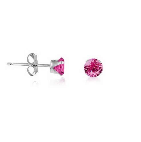 Brilliant Cut Tahitian Ring - Waldenn 925 Sterling Silver Round Brilliant Cut Pink Sapphire Stud Earrings | Model ERRNGS - 13272 | 3mm - Small