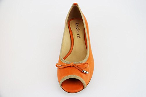 CALPIERRE Zapatos de Salón Mujer 35 EU Naranja Cuero Beige Textil AG631