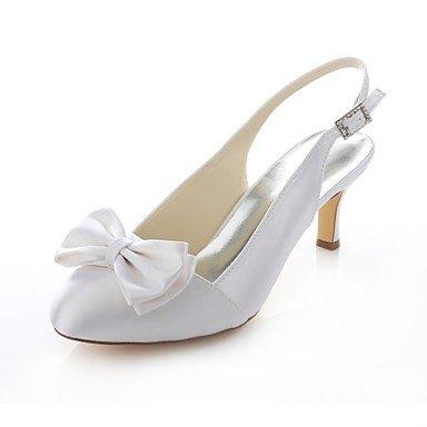 Zapatos De Mujer Tacones Stiletto Talón De Satén Stretch / Round Toe Heels Boda / Fiesta &Amp; Por La Noche / Vestido Blanco 2A-2 Blanco De 3/4 Pulg. White