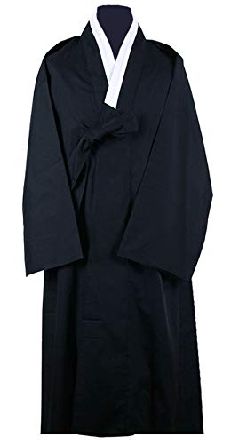 Men Outer Coat Korean Traditional Clothes Durumagi Robe Halloween Costume (L, Black) ()