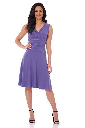 Rekucci Women's Slimming Sleeveless Fit-and-Flare Tummy Control Dress (12,Iris)
