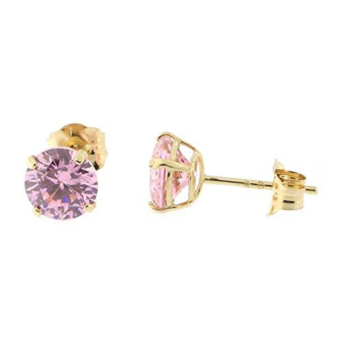 14k Yellow Gold 5mm 1tcw Round Basket Set Simulated Pink Tourmaline - Earrings Pink Tourmaline