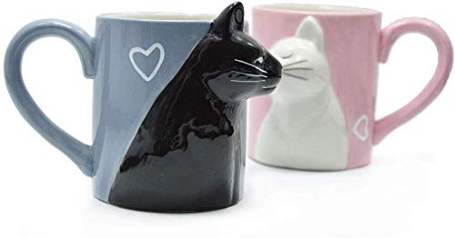 Unique Funny Kitty Ceramic for Lovers Bride and Groom Matching Gift for Birthday Anniversary Wedding Engagement Valentines Day Girlfriend Wife Coffee Tea Couples Cup Pair Mug Set kiss Cat