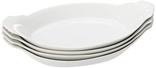 HIC Oval Au Gratin Baking Dishes, Fine White Porcelain, 10-Inch, Set of 4 - Large Oval Bake Dish