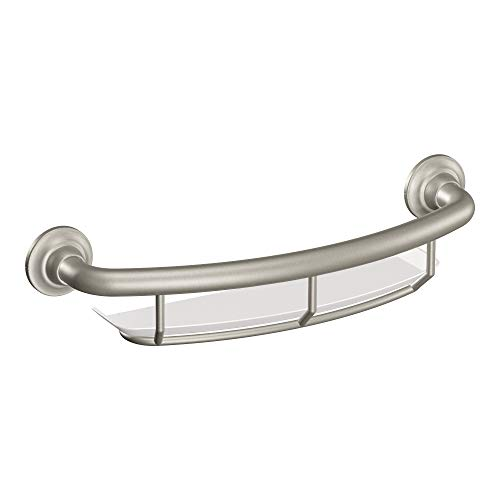 - Moen R2356DBN Home Care 16 Inch Grab Bar with Shelf, Brushed Nickel