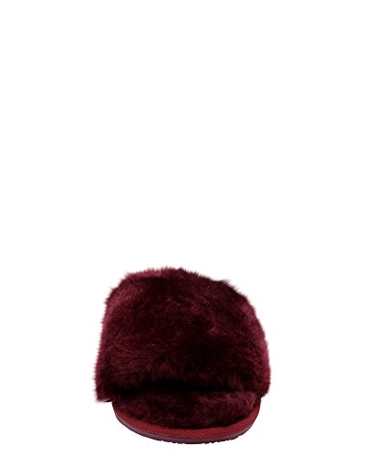Glister Womens Fur House Slipper (Available In 2 Colors) Burgundy tRoT7T