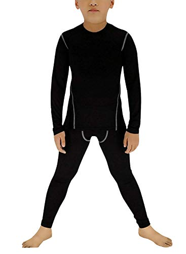 (Boy's Thermal Underwear Set Long John Skin Base Layer Tops and Bottom Moisture Wicking(12 Black))