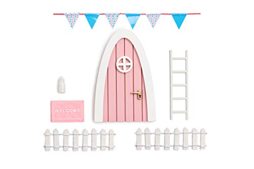 Tooth Fairy Door Kit Great Gift for Miniature Come with Fairy Door Accessories Pink Hobbit Door PretendPlayToys for Girls Kids Room