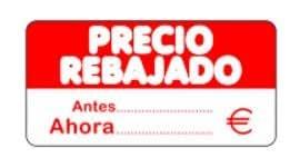 500 Etiquetas PRECIO REBAJADO. Antes Ahora. €. En papel blanco e impresas en rojo, de 50 x 25 mm. (se suministran en 1 rollo)