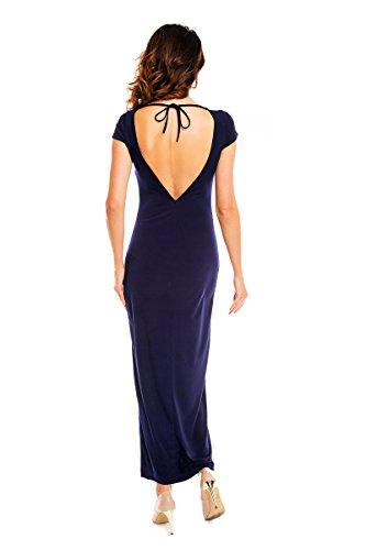 mit Awama Elegantes Rückenschlitz Marineblau Kleid Maxi TnwUqBz