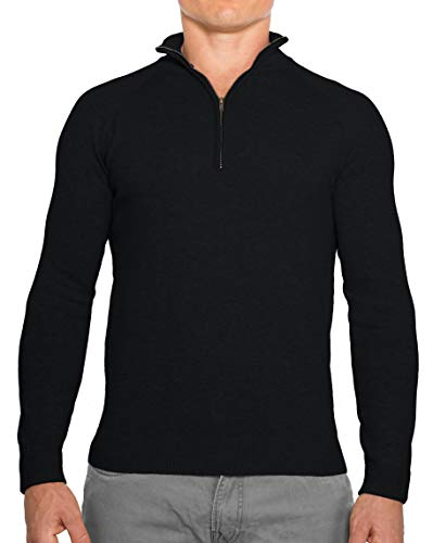 CC Perfect Slim Fit 1/4 Quarter Zip Pullover Men | Durable Mens Sweater with Wash Friendly Fabric | Soft Fitted Sweaters for Men, Medium, Black