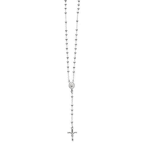 Sterling Silver Catholic Rosary 4mm Beads Virgin Mary Crucifix Cross 24'' Necklace by Ritastephens