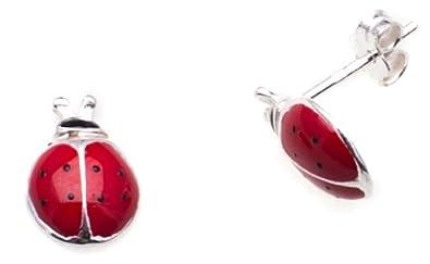 Tuscany Silver Sterling Silver Red Enamel Ladybird Stud Earrings CO5Hq8v11O