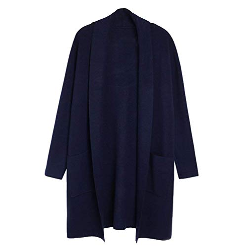 Saoye Fashion Veste en Tricot Femme Longue Automne Hiver Elgante Mode Long Manches Pullover Manteau avec Poches Dsinvolte Baggy Vtements Confortables Jacken Outerwear Saphir
