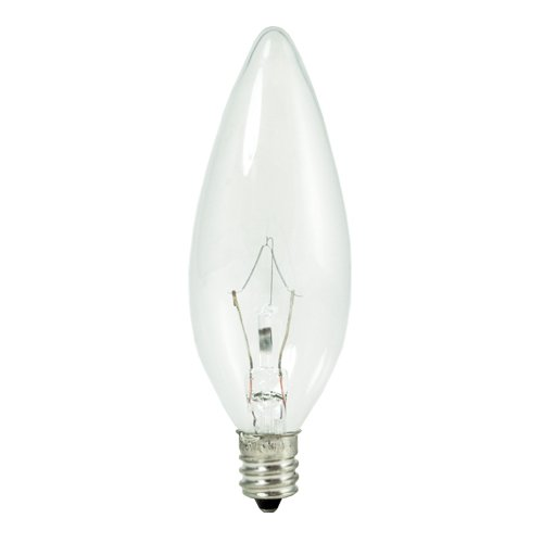 10 Qty. Bulbrite KR40CTC/32 40-Watt Dimmable Krypton Krystal Touch Torpedo B10 Chandelier Bulb, Candelabra Base, Clear by Bulbrite