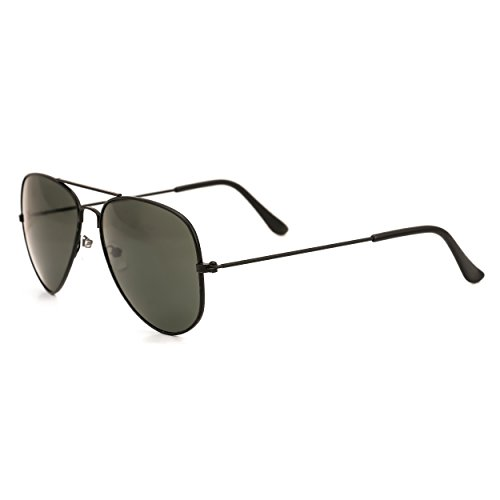 Royal Son UV Protected Aviator Unisex Sunglasses (WHAT1935|58|Black)