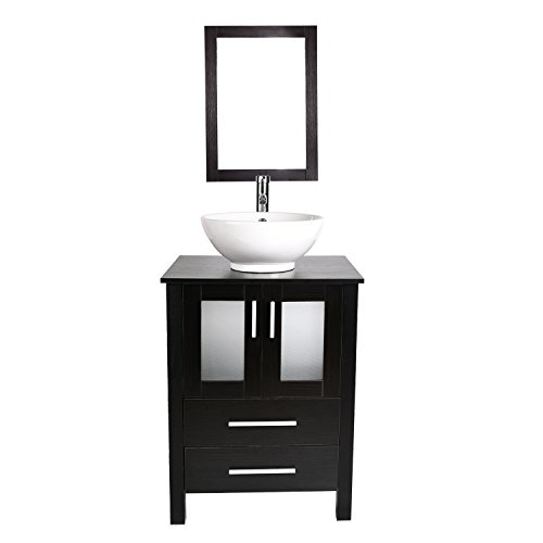 24-Inch Bathroom Vanity, Modern Stand Pedestal Cabinet with Ceramic Porcelain Sink Top, Fixture, with Frame Mirror
